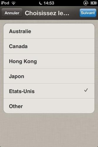 PayPal Here: choix du pays d'utilisation