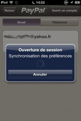 Ouverture d'une session PayPal Here