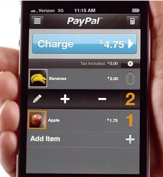PayPal Here sur iPhone: sélection d'articles lors d'une vente