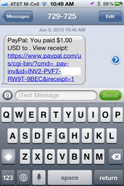 PayPal Here : réception du ticket de caisse par SMS