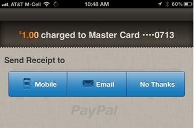 Envoi du ticket de caisse avec PayPal Here