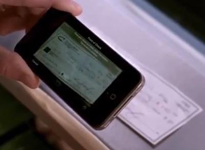 Visualisation du chèque sur l'écran du mobile