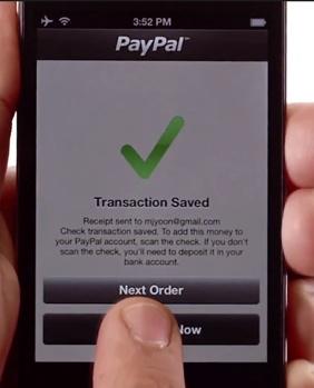PayPal Here: Transaction sauvegardée, le chèque est prêt à être scanné!