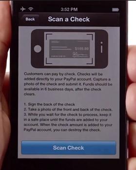 Scan du chèque avec PayPal Here