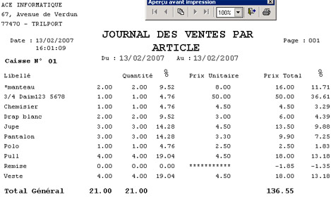 Le journal des ventes par article