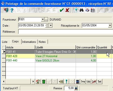 écran de commande fournisseur de XL Pos