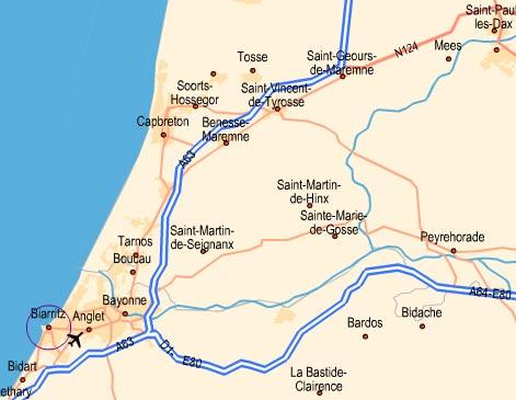 situation géographique de sériel au pays basque