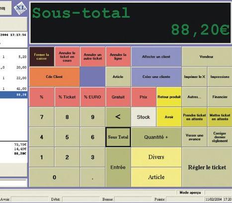 écran de caisse d'XL POS
