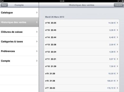 Logiciel de caisse Tactill sur iPad: historique des ventes