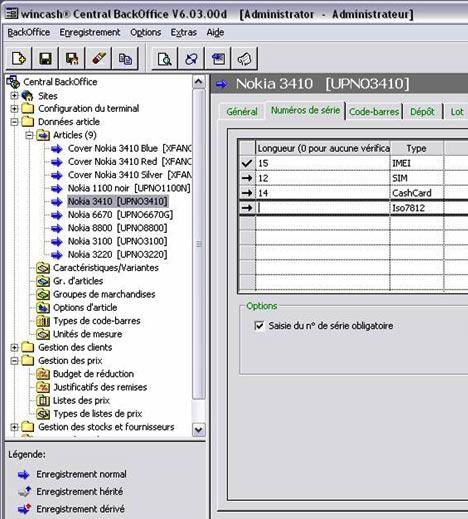 JCash: fiche article avec numéros de série et IMEI