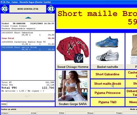 logiciel de caisse xl pos: l'écran de vente
