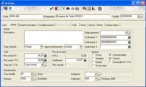 logiciel de caisse xl pos: fiche article