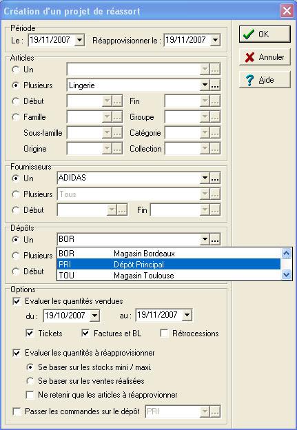 xl pos: le paramétrage du projet de réassort